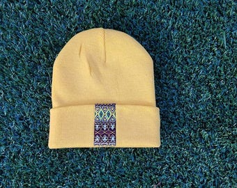 Mustard Winter Hat with Brown African Print