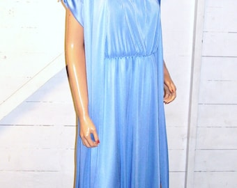 Vintage Blue Pleated Tank Maxi Dress With Jacket 11/12