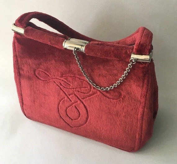 Cesare Puccini Red Velvet Bag from 1950s