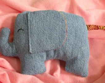 Plush Denim Elephant - Amber Paisley, Kawaii Plush, Cute Elephant, Stuffed Elephant