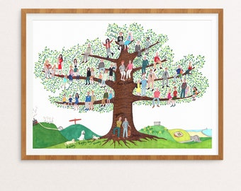 A2 Family tree - custom family illustration, personalised family portrait, hand drawn family artwork, physical+digital available, genealogy