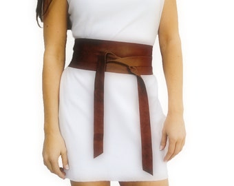 Adobe Brick Leather Belt Womens Japanese Obi Style Genuine Leather