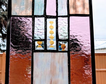 Wine Tone Stained Glass Panel