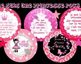 "-Cabochon - jewelry - scrapbooking - digital collage ""I'm a Princess rock 1"" 30mm - 25 mm - 20 mm - 18 mm - 16 mm"