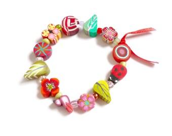 """Joyful Girl's Stretch Bracelet 6"""" Fairy Flower girl Bracelet, Artisan Wedding gift, Valentine's day gift idea for little girl, child jewelry"""