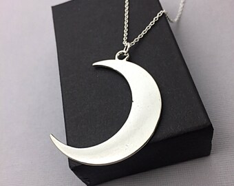 Moon Pendant Necklace,Crescent moon charm necklace, moon jewelry, moon pendant, large silver crescent moon, jewelry, celestial, moon gifts