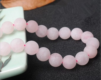 Frosted Rose Quartz round gemstone loose beads strand 16''4mm 6mm 8mm 10mm 12mm