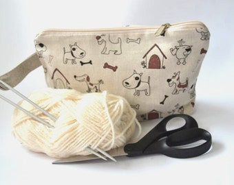 Wristlet pouch - Dog - Material Natural linen - SALE - READY to SHIP