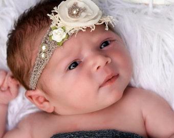 Newborn Photo Prop - Newborn Tieback, Newborn Tie Back, Vintage Tieback, Headband, Baby Halo, Neutral Tieback, Newborn Halo