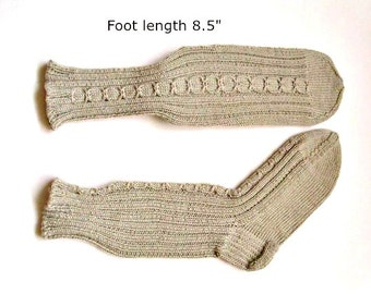"""Socks cotton and bamboo blend hand knit. Foot length 9"""" Non elastic diabetes friendly socks.Cabled design and reinforced heel. Ready to ship"""