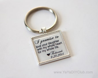 I promise wedding vows ,Wedding Gift for Mother of the Bride, Father of the bride Gift, Wedding Gift for Mother in law Custom quote keychain