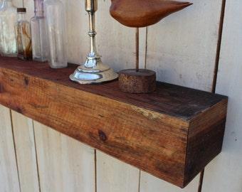 70 x 5.25 x 4 - Home & Living - Decor and Housewares - Wood - Handmade Furniture - Floating Wall Shelf - Shabby Farmhouse Chic - Shelves