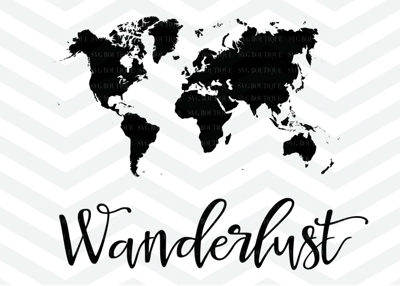 Wanderlust SVG World Map Clip Art Map SVG Travel Cameo