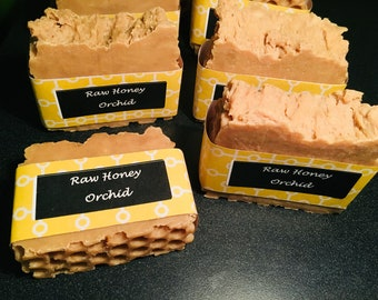All Natural Raw Honey and Orchid fragrance  hot process Soap with shea butter and coconut oil