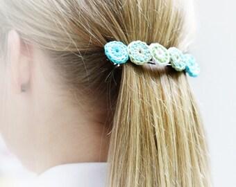 Crochet hair clips. Large hair barrettes in 2 designs