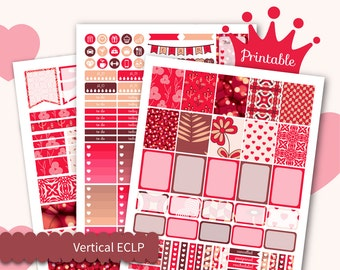 Weekly Printable Kit for Erin Condren Weekly Vertical Kits Romantic Planner Stickers September stickers Passion Sticker Kit Glam stickers