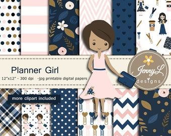 Planner Girl Digital Papers and Clipart SET, planner notebook for Birthday, Digital Scrapbooking ,Invitations, Planner