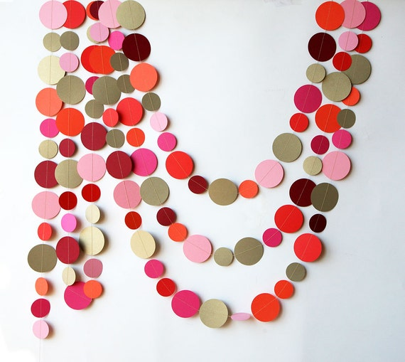 Red Coral Pink & Antique Gold Garland Home Decor Party