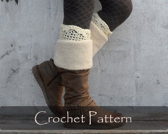 CROCHET PATTERN - Fanny Boot Cuffs Crochet Boot Tops Women Winter Boot Toppers Warm Boot Socks Instructions Crochet Diy PDF - P0060