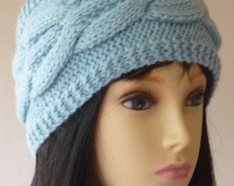Head Band Headband Ear Warmer Cable Alpaca Wool Aqua Blue One-Size Hand Knitted