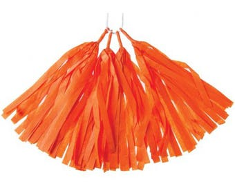 Party Decorations | Orange Tissue Paper Tassel Set of 4 | Tissue Tassel Banner | Pre-Assembled | Party Supplies | The Party Darling