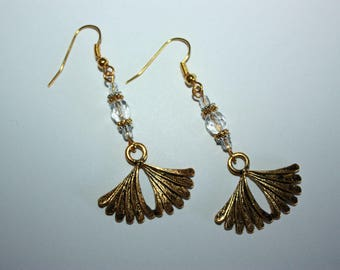 Transparent Crystal with ginkgo leaf earrings