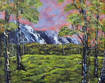 Woodland Landscape Painting - Rustic Modern Decor - 16x20 Contemporary Art - Acrylic on Canvas - Mountain Painting - Trees and Green Fields