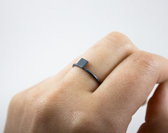 Ares Ring (Oxidized Finish) - geometric jewellery - sterling silver stacking ring - minimalist - handmade