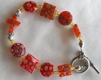 Orange  bracelet, vintage bead bracelet, Christian Bracelet, Faith Bracelet, Inspirational bracelet, cross bracelet