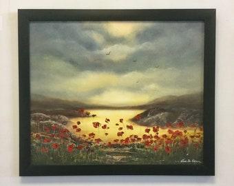 Poppy Field, Landscape with Poppies, Original Oil Painting, Framed Artwork