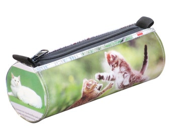 Tube pencil case cat lovers, FREE SHIPPING, Pencil pouch case, pencil bag, school supplies, Upcycled zipper pencil case, repurposed junk