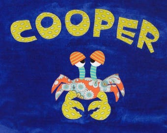 Personalized Large Royal Blue Velour Beach Towel with Funny Crab, Pool Towel, Kids Bath Towel, Camp Towel, Baby Towel, Baby Gift, Swim Towel