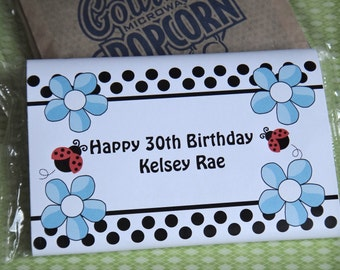 SALE Lady Bug Pink BlueFlowers Popcorn Birthday Party Favors or Baby Shower Party Favors 1st 2nd 3rd 4th 5th 6th Birthday Favors