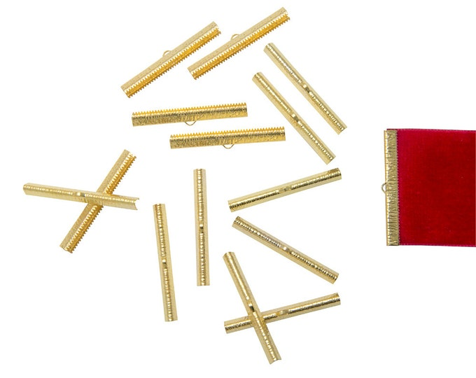 150 pieces  50mm  (2 inch) Gold Ribbon Clamp End Crimps - Artisan Series