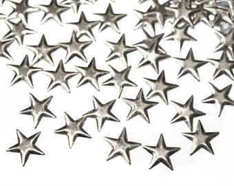 Silver Stars Iron On Studs Rivets Nailheads,  Silver hot fix Stars Embellishments