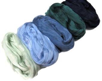 Mulberry Grade AA Silk roving palette, 3.5oz (100g) ,color: Blue/Greens