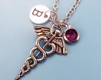 Caduceus jewelry etsy hermes caduceus necklace caduceus pendant custom charm necklace personalized necklace docter gift mozeypictures Image collections