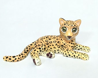 Leopard Cub Sculpture, Hand painted Resin Figure, Animal Lover Gift