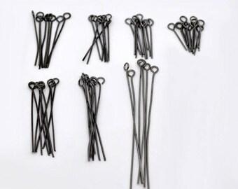 TG26 - Set of 100 black 24mm gunmetal eye pins