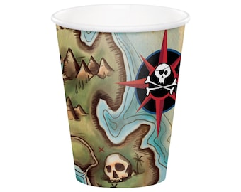 Pirate Cups - Pirate Birthday Supplies - Pirate Party Supplies - Pirate Birthday - Pirate Party Decorations - Ahoy Matey - Pirate Ship
