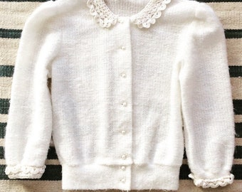 60s Fuzzy White Sweater With Crochet Collar and Cuffs