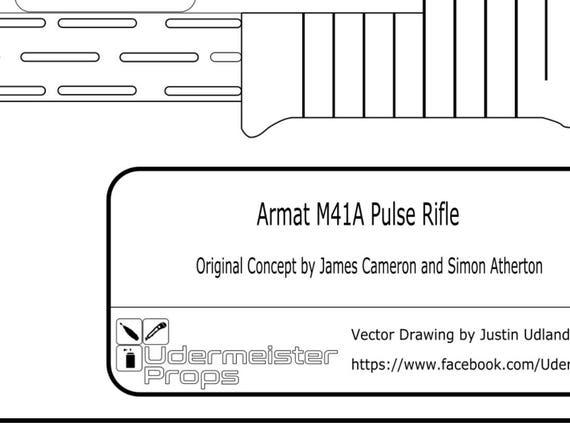 Aliens m41a pulse rifle blueprint from udermeisterprops on etsy studio malvernweather Gallery