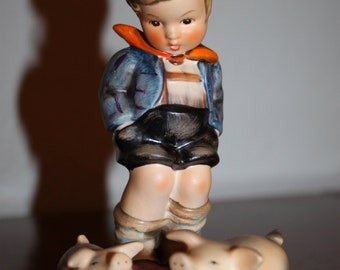Vintage Rare Hummel Country Farm Boy Watching Over His Piglets Porcelain Figurine