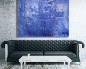 XL Blue Texture Abstract Painting / Modern Art / Contemporary Art / Extra Large Art / Large Abstract Painting / Blue Abstract Art