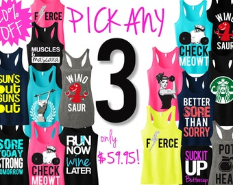 3 WORKOUT FITNESS TANK Tops 20% Off Bundle, Workout tank, Workout Shirt, Gym Tank, gym clothing, Workout tanks,Gym shirt