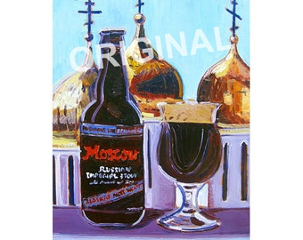 Alaska Craft Beer Gift for Him, Moscow Russian Imperial Stout, Midnight Sun Brewing Beer Painting, Russia Painting, Russian Church Domes Art