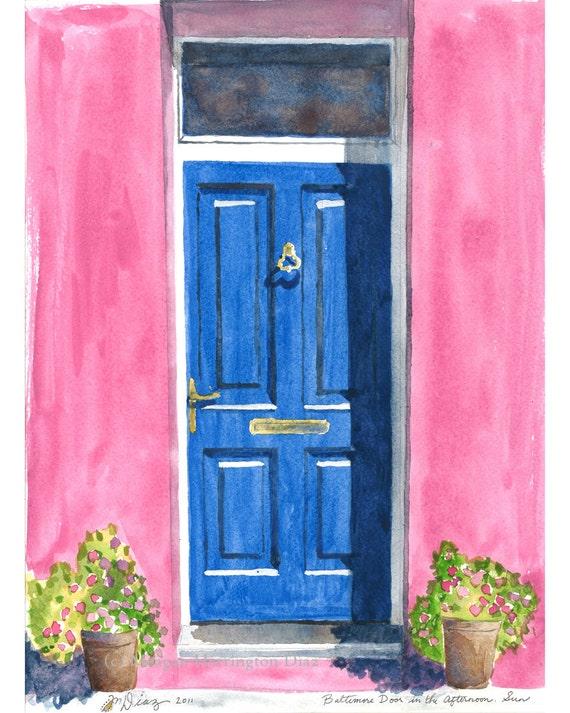 Irish Door Painting - Baltimore Door in the Afternoon Sun - Fine Art Print - Blue Door - blue and pink  sc 1 st  Etsy & Irish Door Painting Baltimore Door in the Afternoon Sun