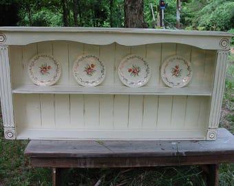 Cottage wall shelf , display shelf , Wall shelf ,  distressed  plate rack ,