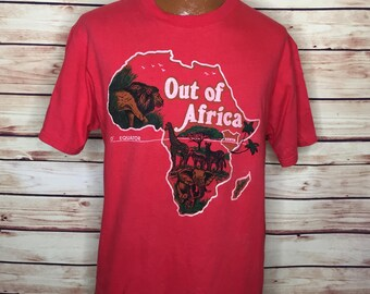Men's 90s vintage red tourist Kenya Africa soft shirt