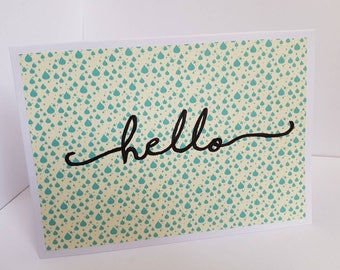 Hello Card \\ Greeting Card \\  Typography Card \\ Handwritten Card \\ Blank Card \\ Green and Yellow Card